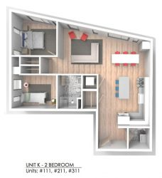 Bay State Commons Unit K- 2 Bedroom_Units 111, 211, 311