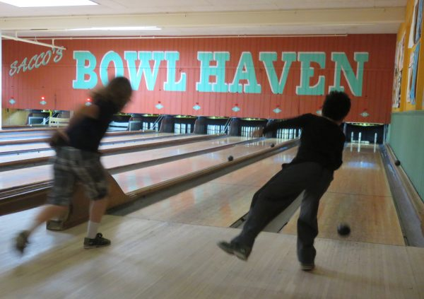 Trying our skills at Sacco's Bowl Haven!