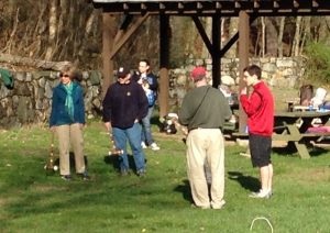 At a community croquet game.