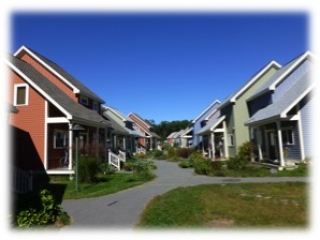 Central walkway at Camelot Cohousing in Berlin MA